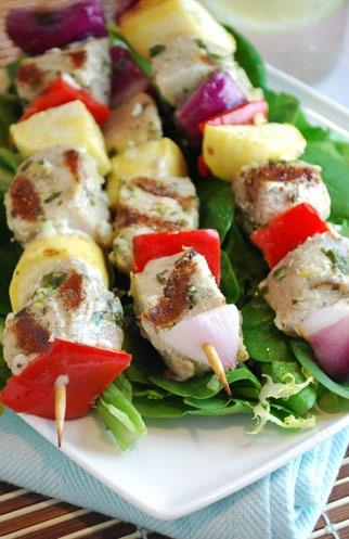 Tuna Kebabs These tuna kebabs are a meal in one. Colorful bell peppers and squash help make this seafood recipe a pretty and healthy entrée.