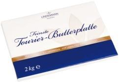 0743 Westfalia Feinste Tourier-Butterplatte 5 x 2 kg plate / 64 boxes per pallet Butter plate for the production of laminated butter pastries.