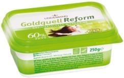 0996 Goldquell Frühstücks-Margarine See above. Art.-no. 0862 Goldquell Reform 16 x 500 g tubs / 80 trays per pallet 60% fat spread, vegetable margarine with Omega-3 fatty acids.