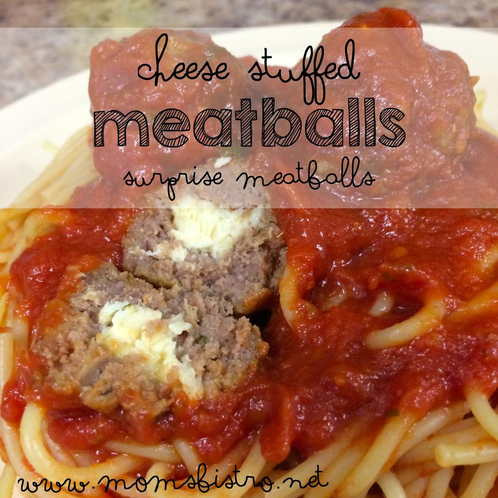 Cheese Stuffed Meatballs 1 lb ground beef 2 eggs, beated ¼ cup bread crumbs salt and pepper ½ cup grated parmesan cheese 2 tbsp fresh, minced parsley To sneak in vegetables: ½ yellow onion 1 clove