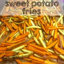 Sweet Potato Fries 2 lbs sweet potatoes, washed (we used white and orange sweet potatoes) 1/8 cup olive oil 2 tbsp brown sugar 1 tsp each; salt, garlic powder, paprika 1/2 tsp black pepper Preheat