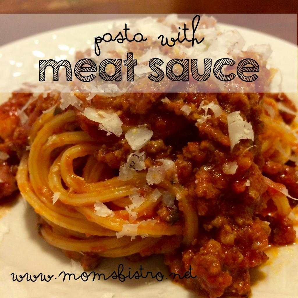 Pasta with Meat Sauce 1 lb pasta of choice, we used Spaghetti Rigati 4-5 cups leftover crockpot spaghetti sauce 1 lb ground beef 1/2 lb (or 2 links) sweet Italian sausage, casing removed 1/8 cup