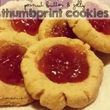 Peanut Butter & Jelly Thumbprint Cookies 1 1/3 cup flour 1/2 tsp baking soda 1/4 tsp salt 1 stick butter, softened 1/2 cup white sugar 1/2 cup brown sugar 2/3 cup peanut butter 1 egg 1 1/2 tsp