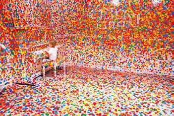 All images from Yayoi Kusama Studio The wonderful world of Kasuma Yayoi (top, left to right): Obliteration Room (2002), No.