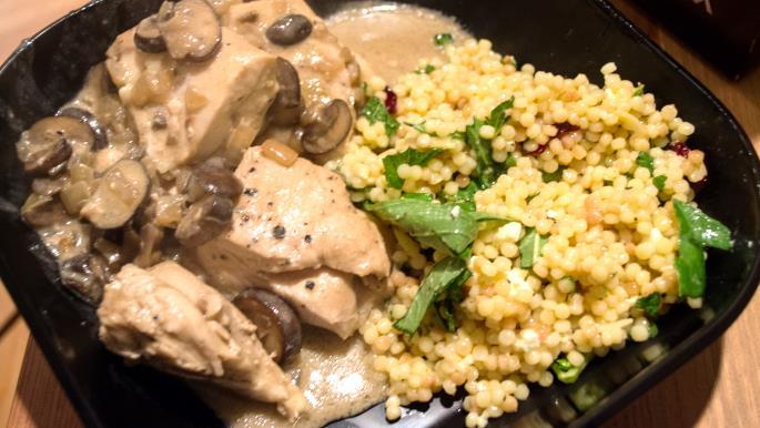 Mustard Mascarpone Marsala Chicken 1 1/2 pounds boneless skinless chicken breasts, each breast cut crosswise into 3 pieces Salt and freshly ground black pepper 2 tablespoons olive oil 5 tablespoons