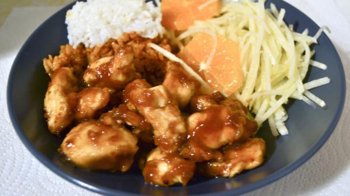 Orange Chicken 1 1/2 cups water 2 tbs orange juice 1/4 cup lemon juice 1/3 cup rice vinegar 2 1/2 tbs soy sauce 1 tbs grated orange zest 1 cup packed brown sugar 1/2 tsp minced fresh ginger root 1/2
