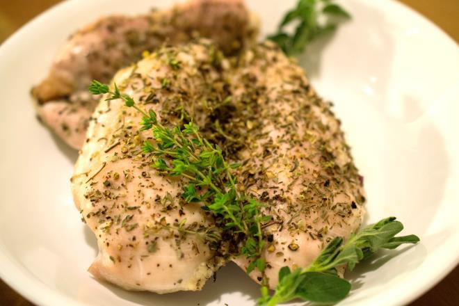 Simple Chicken with Herbs Any cut and quantity of chicken Salt Pepper Italian herbs (oregano, basil, thyme)