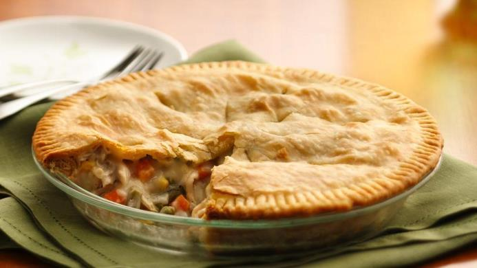 Chicken Pot Pie 1 pound skinless, boneless chicken breast halves - cubed 1 cup sliced carrots 1 cup frozen green peas 2 medium potatoes, small cubes 1/2 cup sliced celery 1/3 cup butter 1/3 cup