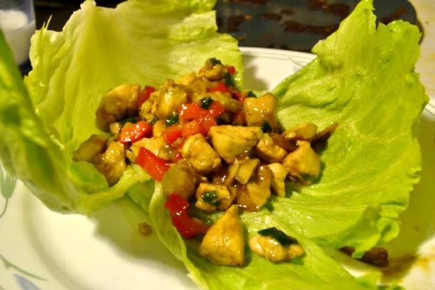 Lettuce Wraps 2 cups, 4 handfuls, fresh shiitake mushrooms 1 1/3 to 1 1/2 pounds chicken 2 tablespoons vegetable oil Coarse salt and coarse black pepper 3 cloves garlic, chopped 1 inch ginger root,