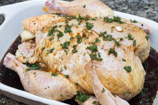 Maple Thyme Roast Chicken 4-lb. whole chicken, rinsed and patted dry 2 Tbs. vegetable oil 2 Tbs. balsamic vinegar Kosher salt and freshly ground black pepper 2 Tbs.