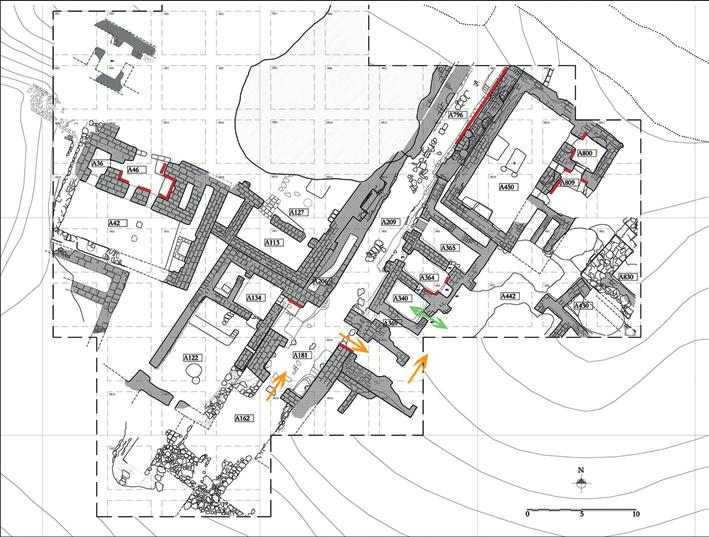 maria bianca d anna Fig. 7 Arslantepe VI A public buildings: possible passageway to the meal redistribution area. The location of painted and impressed decorations on walls is indicated in red.
