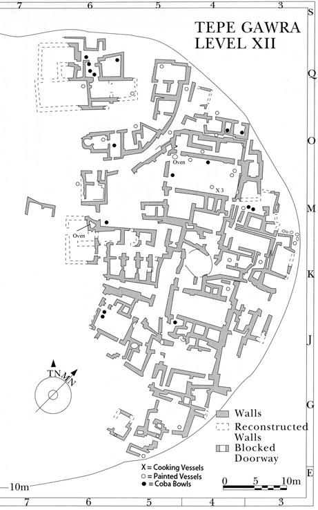 jason r. kennedy Fig. 5 Map of Level XII at Tepe Gawra detailing the location of selected vessel forms. Courtesy of Pennsylvania Museum of Archaeology & Anthropology.