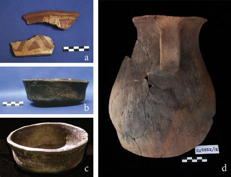 christine a. hastorf Fig. 14 Middle Formative ceramics: (a) decorated serving bowl, (b) (c) consumption bowls, (d) liquid serving jug. Tiwanaku influence.