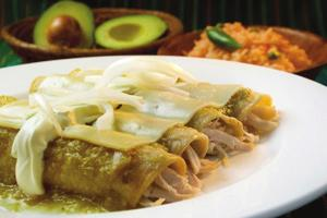 Chicken and Cheese Enchiladas Verdes Serves 6 1. 2 cups shredded chicken 2. 2 cups low-sodium chicken broth 3. 1 white Onion 4. 2 garlic cloves 5. 1 pound fresh tomatillos (husks removed) 6.