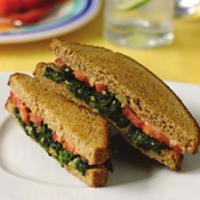 Red, White and Green Grilled Cheese Serves 4 1. 1 teaspoon Garlic, minced (about ½ clove) 2. 1 small Onion, minced (about ½ cup) 3. 2 cups frozen cut Spinach, thawed and drained 4.