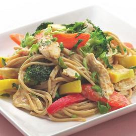 Peanut Noodles with Shredded Chicken & Vegetables Serves 6 1. 1 pound boneless, skinless chicken breasts 2. ½ cup smooth natural peanut butter 3. 2 tablespoons reduced-sodium soy sauce 4.