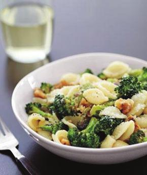 Orecchiette with Roasted Broccoli and Walnuts - Serves 4 1. 12 ounces orecchiette or some other short pasta (3 cups) 2. 1 bunch broccoli (1 ½ pounds), cut into small florets 3.