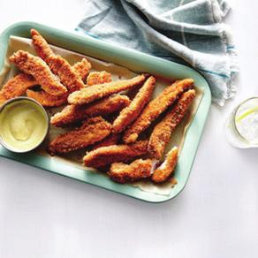 Homemade Chicken Fingers4 - Serves 4 1. ¼ cup plain 2% reduced-fat Greek yogurt 2. 2 tablespoons spicy brown mustard 3. 1 tablespoon honey 4. ½ cup all-purpose flour 5. 1 teaspoon paprika 6.