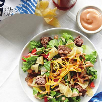 The Cheeseburger Salad- Serves 4 1. 12 ounces 90% lean ground sirloin 2. ½ teaspoon freshly ground black pepper 3. ¼ teaspoon salt 4. Cooking spray 5.
