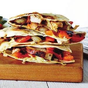 Grilled Chicken and Vegetable Quesadillas Serves 4 1. 1½ teaspoons paprika 2. ½ teaspoon garlic powder 3. ½ teaspoon dried oregano 4. ½ teaspoon ground cumin 5. ¼ teaspoon kosher salt 6.