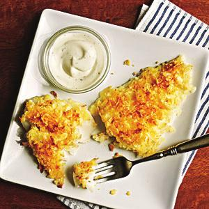 Chip-Crusted Fish Fillets Serves 4 1. 4 6-ounce cod fillets (or other firm white fish) 2. 2 teaspoons canola mayonnaise 3. ⅛ teaspoon salt 4.