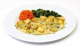 Bake Mixed vegetables in a vegetarian Cheddar cheese sauce, topped with sauté potatoes, served with peas, swede and mashed potato. 400g A fluffy omelette served with chips and baked beans.