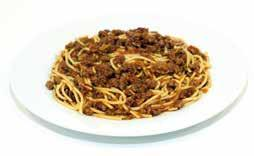 465g Spaghetti topped with a rich bolognaise sauce, made with vegetarian mince, tomato, carrot and leek and finished with a