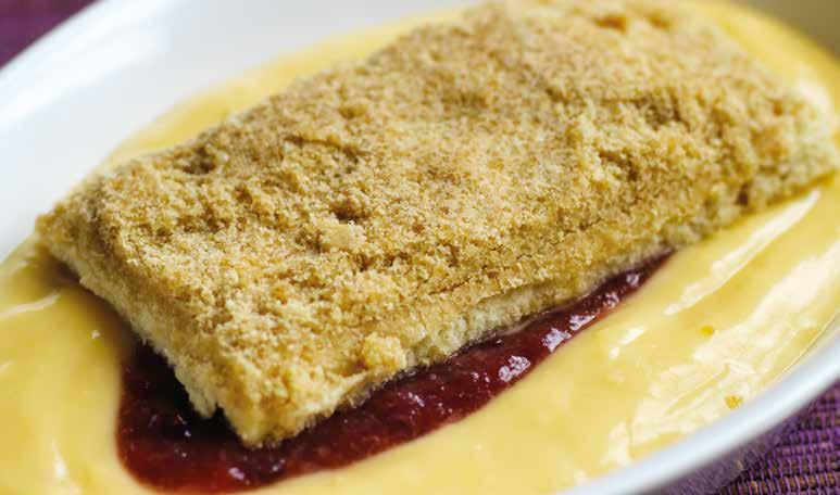 Reduced / Low Sugars Desserts Rhubarb Crumble Rhubarb filling topped with crumble, served with 155g 912 Apple and blackberry filling topped with crumble, served with 160g 913 Apple & Blackberry