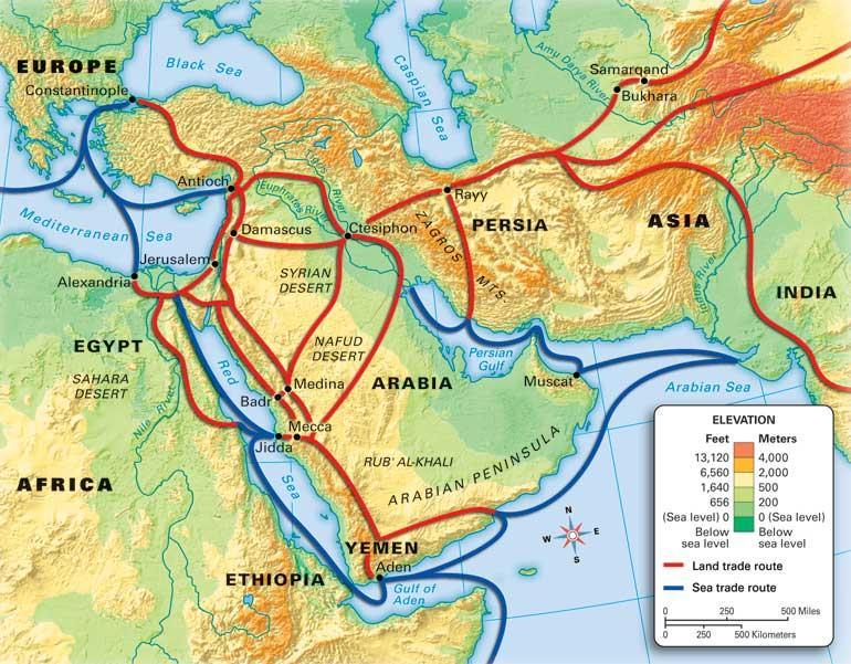 Muslim Trade Routes By 700 CE, Arab Muslim traders from North Africa began to cross the Sahara in increasing numbers and created trade routes.