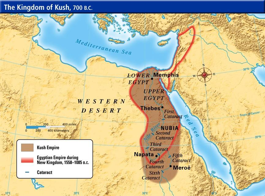 African Civilization NUBIA (Kingdom of Kush) (overview) As branches of the Nile River descend from the highlands of East Africa, they join in a single course and pass through the land of Nubia, in