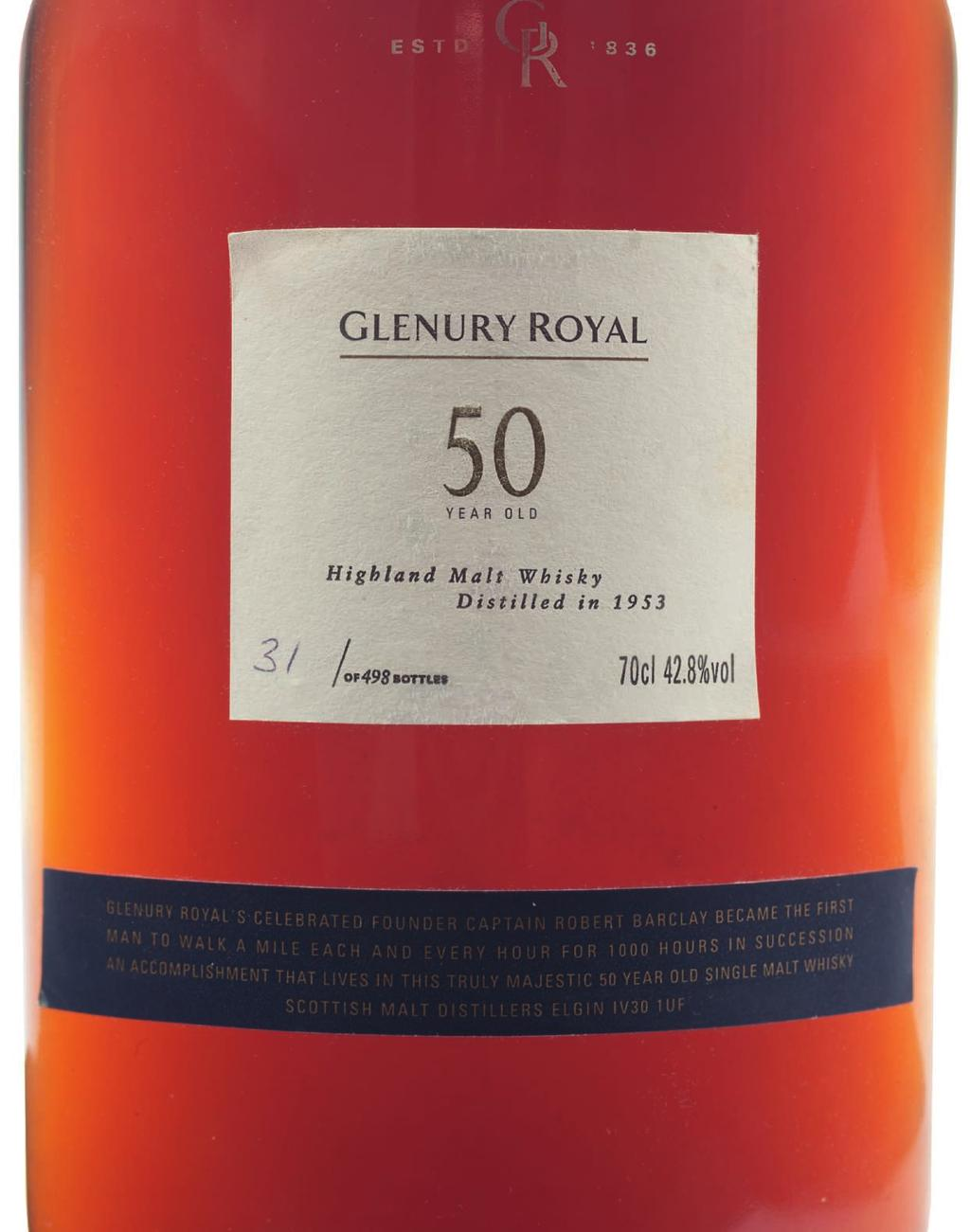 62 Glenury Royal 50 Year Old Highland Distilled 1953, 42.