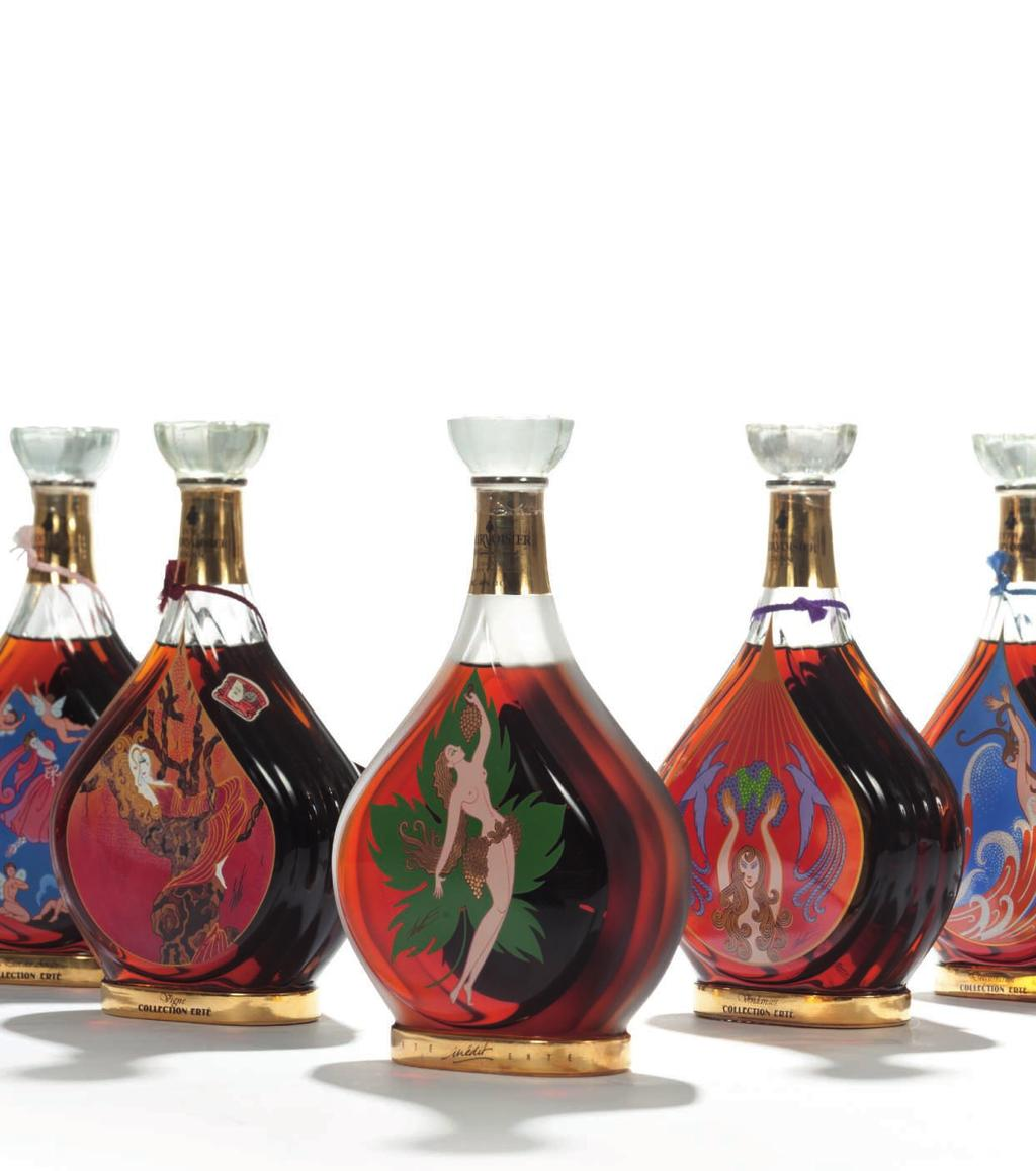 ERTÉ VERY RARE COMPLETE SET OF ERTE COLLECTION BY COURVOISIER 65 Erté Collection by Courvoisier No. 1 Vigne (1) No. 2 Vendages (1) No. 3 Distillation (1) No.