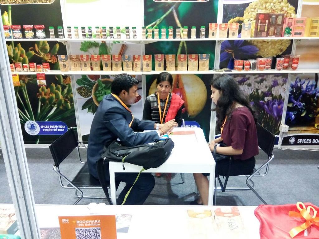 Ms. Uzmi Athar, Press Trust of India, also visited our stall and enquired about the different mechanisms employed by Spices Board India for increasing the export of spices from India.