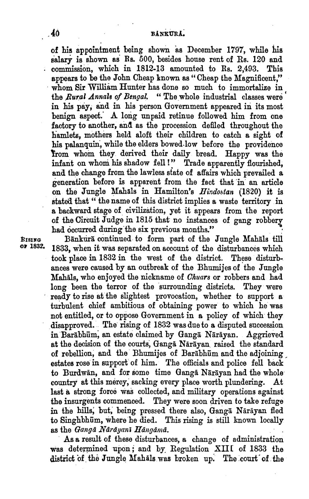 ~ISING Ol' 1832. ' of his appointment being shown as December 1797, while his salary is shown as Rs. 500, besides house rent of Rs. 120 and com.inission, which in 1812-13 amounted to Rs. 2,493.