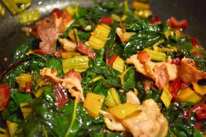 Swiss Chard Pan Fried 4 slices bacon, chopped 2 tbs butter 3 tbs fresh lemon juice 1/2 tsp garlic paste 1 bunch Swiss chard, stems removed, leaves cut into 1-inch