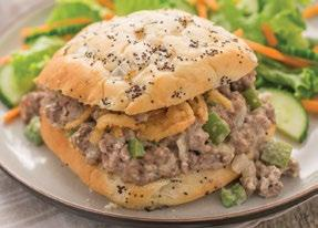 Philly Cheese Steak Sloppy Joes 1½ pounds lean ground beef ½ cup chopped onions ½ cup chopped green bell peppers, optional ½ cup chicken broth 1 packet Philly Cheese Steak Warm Dip Mix 1 cup shredded