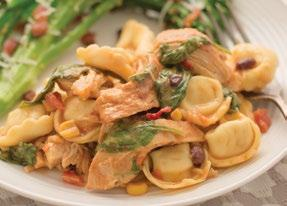 Tex-Mex Chicken & Tortellini 1½ pounds boneless skinless chicken breasts, seasoned with salt and pepper 1 jar Corn, Black Bean Salsa 1 (19-20 ounce) package refrigerated or frozen cheese tortellini
