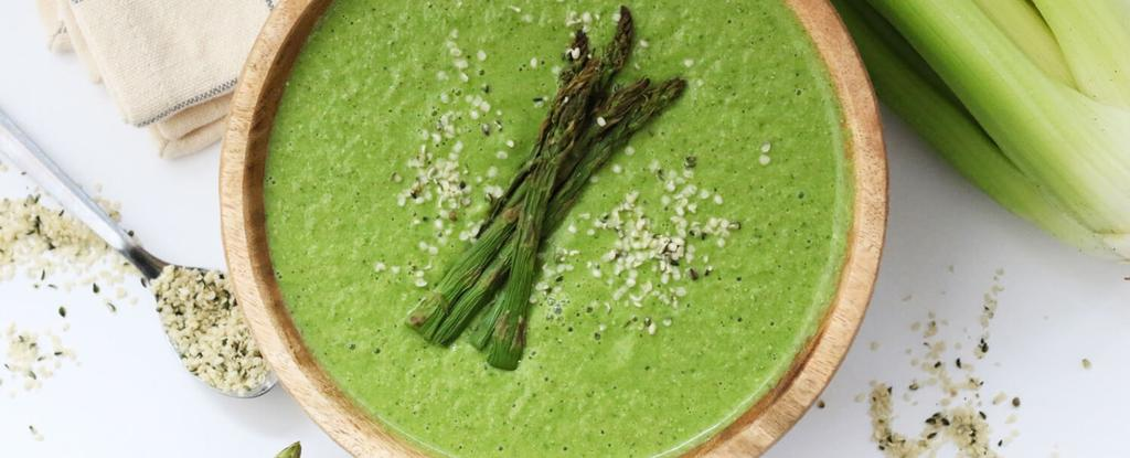 Cream of Celery & Asparagus Soup 10 ingredients 25 minutes 8 servings Heat coconut oil in a large stock pot over medium heat. Add yellow onion and celery.