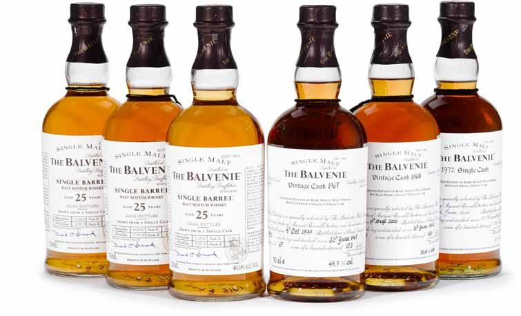 109 Balvenie 1972-33 years old (1) D.B. Cask #14832, 150 bottles, bottled 26-05- 2006. 700ml. 47.3%. $800-1,000 110 Balvenie 25 years old (1) D.B. 46.9%.