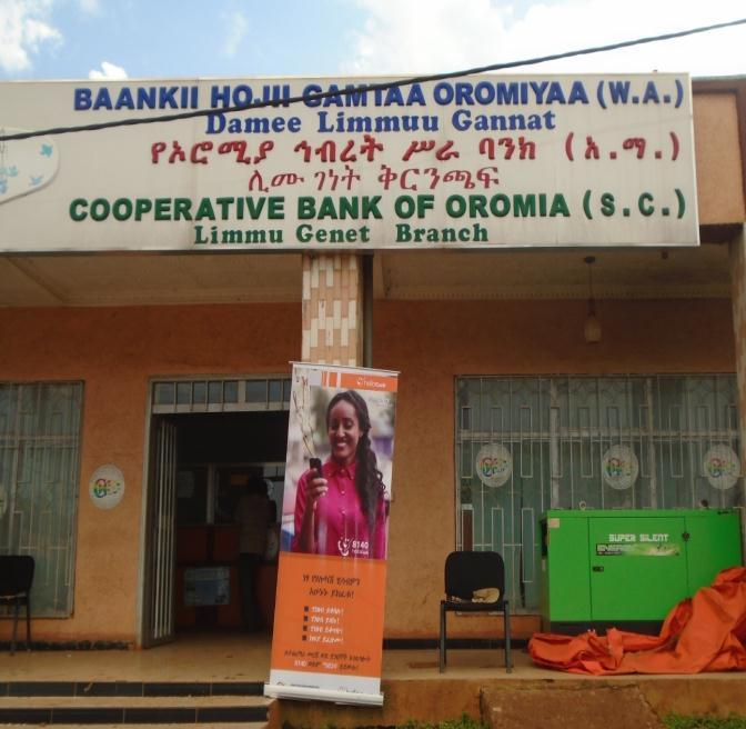 Cooperative bank of Oromia at Limmu Genet Branch(Photo by researcher in 2015) Oromia International Bank at Limmu Kossa branch started service on August 20, 2014.