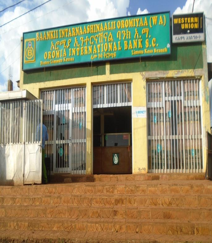 Dashen Bank at Limmu Genet branch (Photo by researcher in 2015) Telecom service Telephone service was introduced to the town in the late 1960s by Rabiya Abdulkadir, the wereda s representative in the