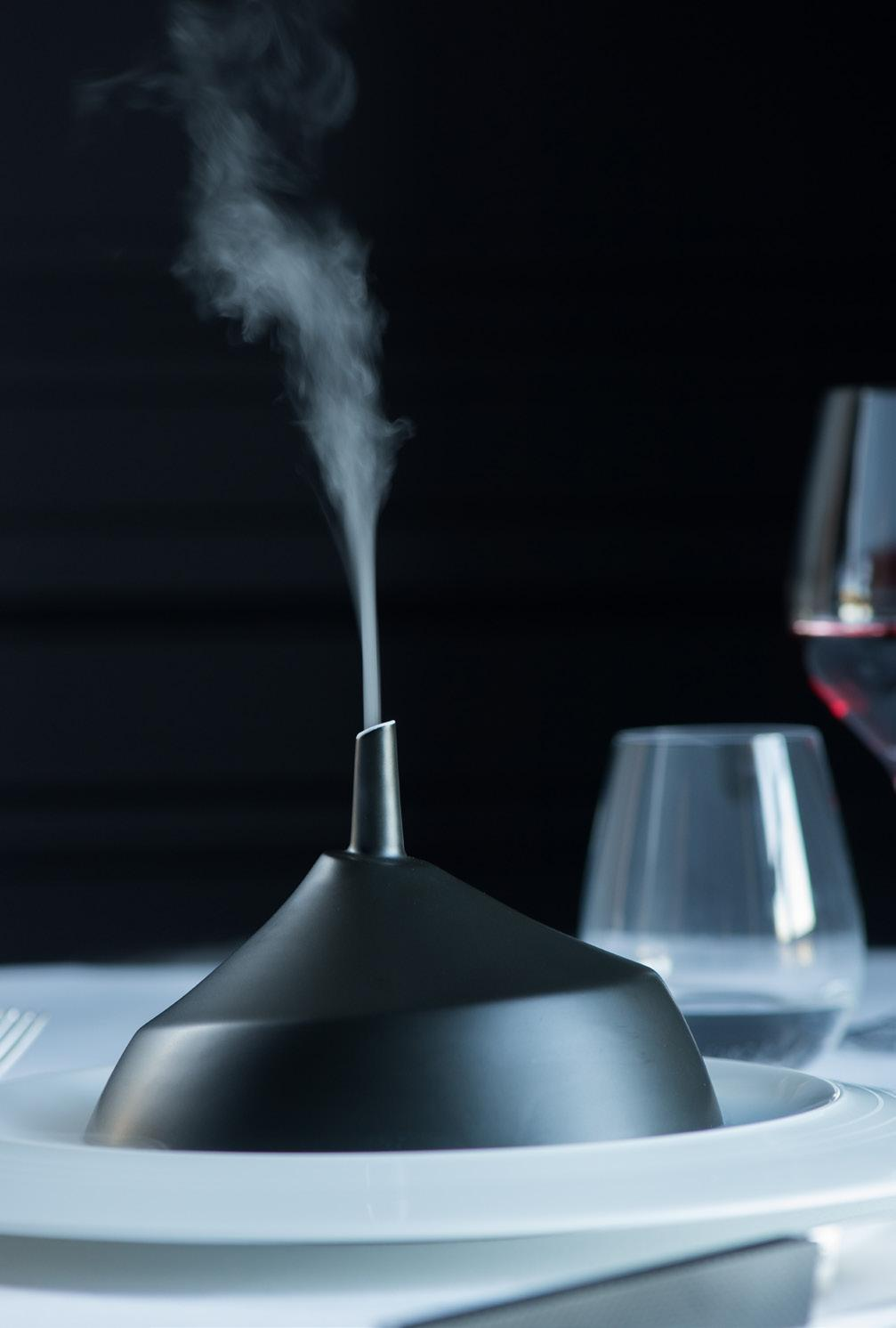 The perforations provide an outlet for steam to escape, like elegant mist. - Cloche with chimney. Allowing steam and aromas to escape- an allusion to a hot oven.