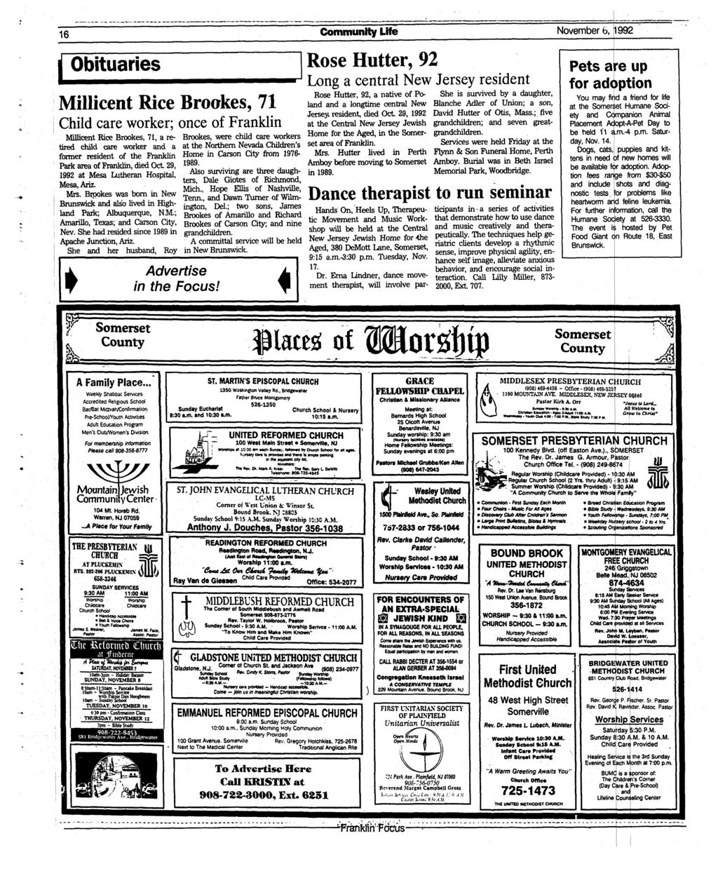 16 Community Life November 6, 1992 Obituaries Millicent Rice Brookes, 71 Child care worker; once of Franklin Millicent Rice Brookes, 71, a retired child care worker and a former resident of the