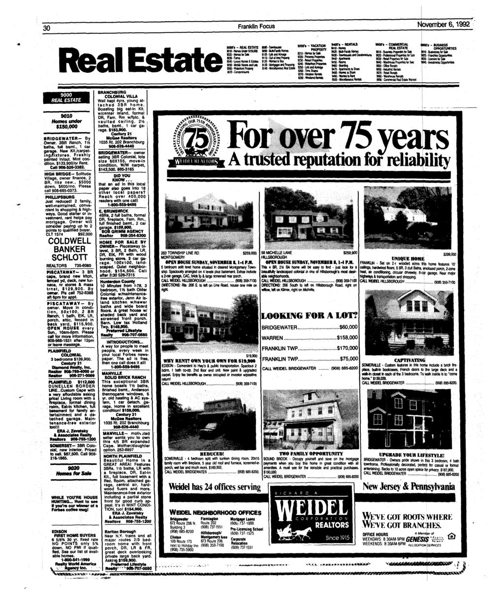 30 Franklin Focus November 6,1992 Real EstateSOOtta - REAL ESTATE MtO-Horas Under J15O.