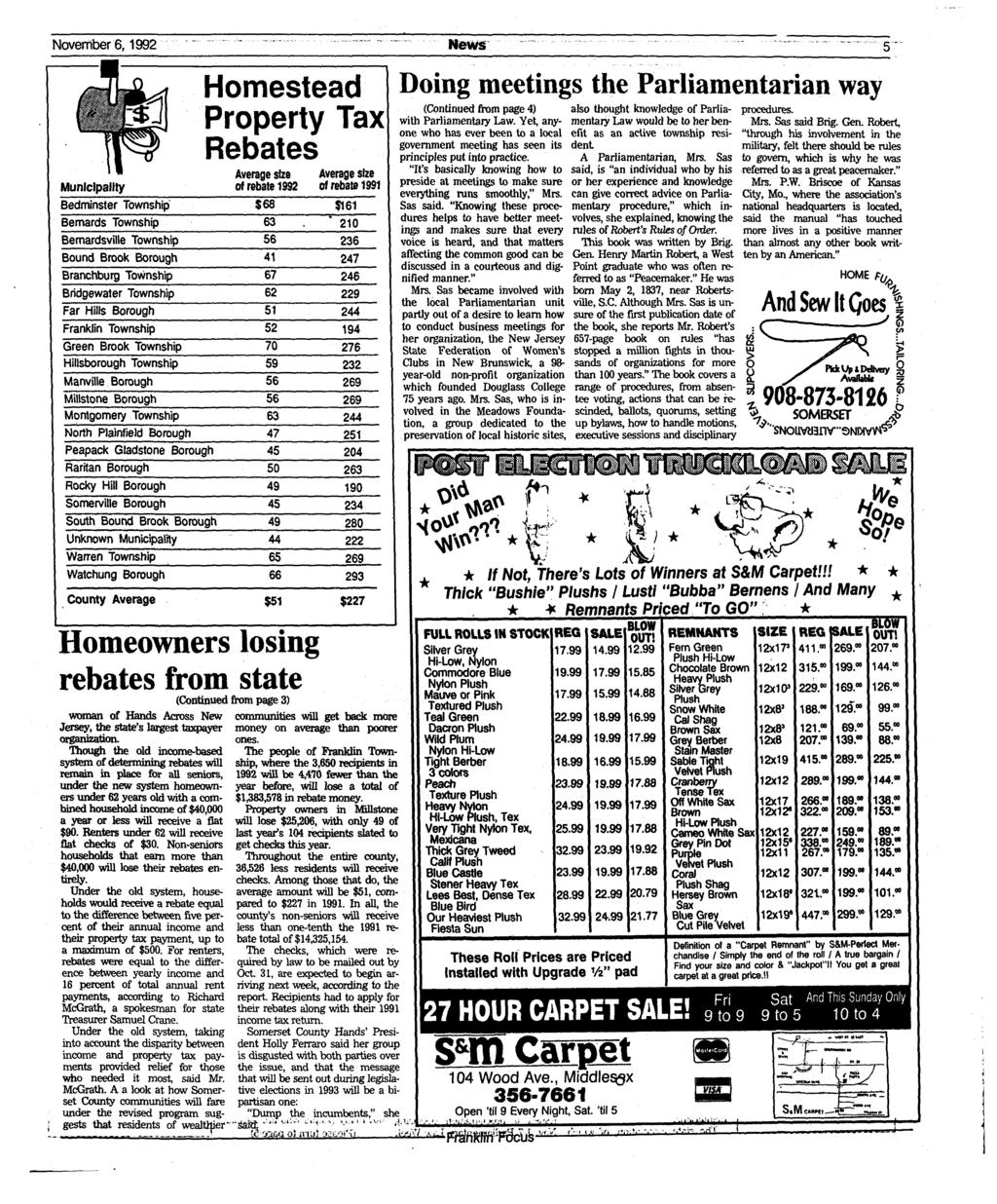 November 6,1992 Municipality Bedminster Township Bernards Township Bemardsville Township Bound Brook Borough Branchburg Township Bridgewater Township Far Hills Borough Franklin Township Green Brook