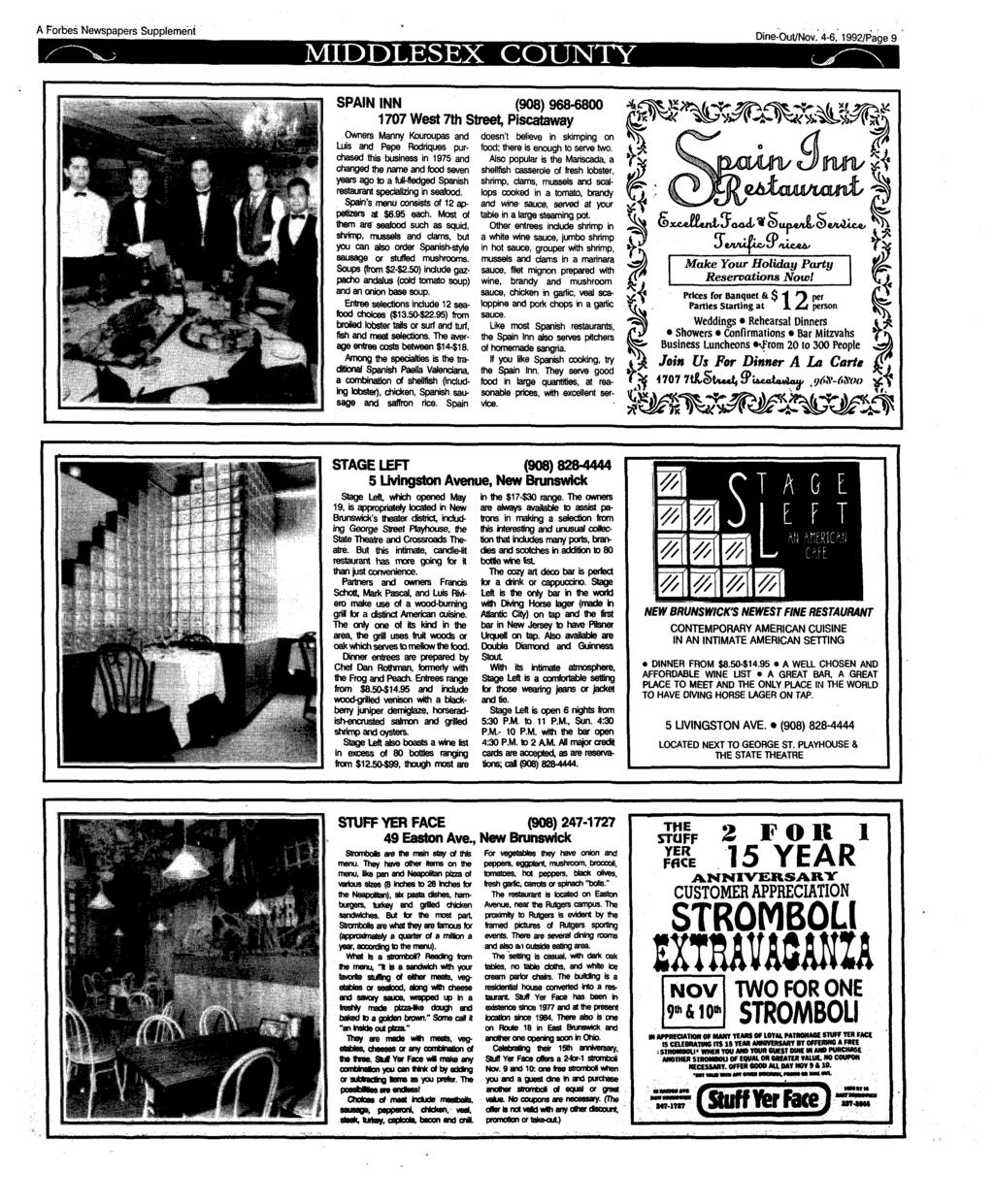 A Forbes Newspapers Supplement MIDDLESEX COUNTY Dine-Out/Nov.