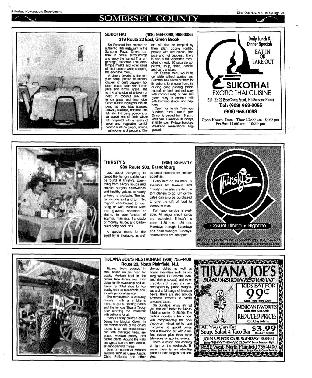 A Forbes Newspapers Supplement SOMERSET COUNTY Dine-Out/Nov.