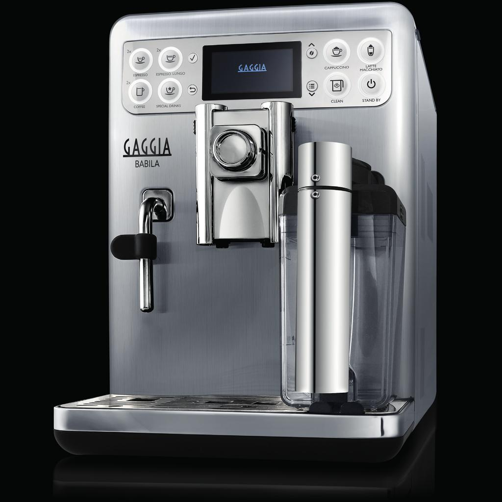 G AG G I A B A B I L A Brews 7 coffee varieties Integrated milk jug & frother,