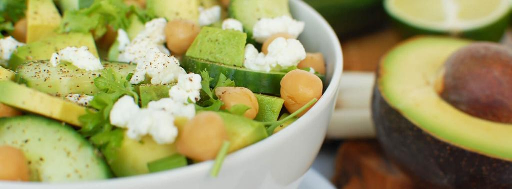 Chickpea, Avocado & Cucumber Salad 8 ingredients 15 minutes 3 servings 1. Combine all ingredients except avocado together in a large mixing bowl. Mix well with a spatula.