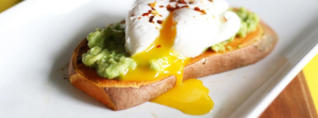 Avocado Sweet Potato Toast with Poached Egg 4 ingredients 15 minutes 1 serving 1. Trim the pointy ends off the sweet potato then lay it on its side on a cutting board.